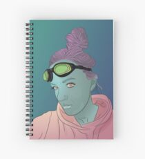 Alien green skin girl portrait with pink hair and googles Spiral Notebook