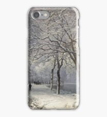 Anders Andersen - Lundby - A Winter Landscape With Horses And Carts By A River iPhone Case/Skin