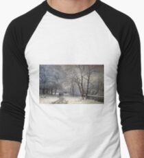 Anders Andersen - Lundby - A Winter Landscape With Horses And Carts By A River Men's Baseball ¾ T-Shirt