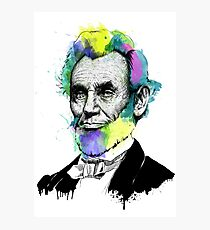 Abraham Lincoln Ink + Watercolor Portrait Photographic Print
