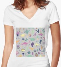 Dinosaur Desert Women's Fitted V-Neck T-Shirt