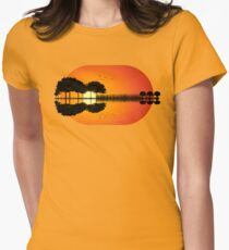 guitar island sunset iLL Womens Fitted T-Shirt