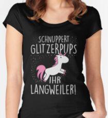 Einhorn: Schnuppert Glitzerpups ihr Langweiler Women's Fitted Scoop T-Shirt