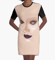 Beautiful makeup face with dark eyeshadow and lipstick Graphic T-Shirt Dress