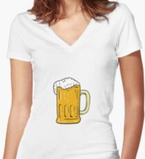 Beer Mug Drawing Women's Fitted V-Neck T-Shirt