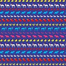Striped pigs and ponies - blue and pink - fun pattern by Cecca Designs by Cecca-Designs