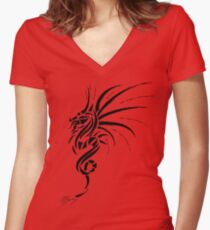 Essemios - furious dragon in black Women's Fitted V-Neck T-Shirt