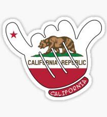 CALIFORNIA STATE FLAG SHAKA HANG LOOSE SURFING SURFER SURF HIPPIE Sticker