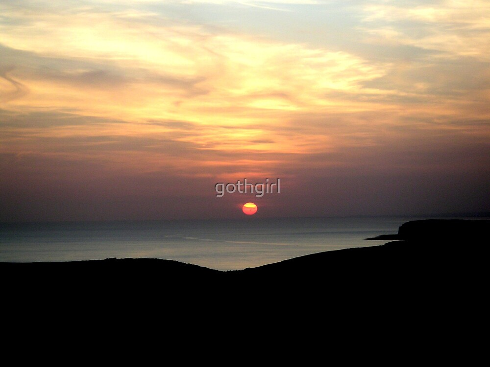 sun set over beachy head in sussex by gothgirl