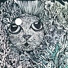 Cat in a Fishbowl, Mixed Media by Danielle Scott
