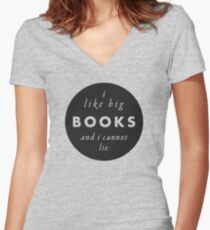 Big Books Love Women's Fitted V-Neck T-Shirt