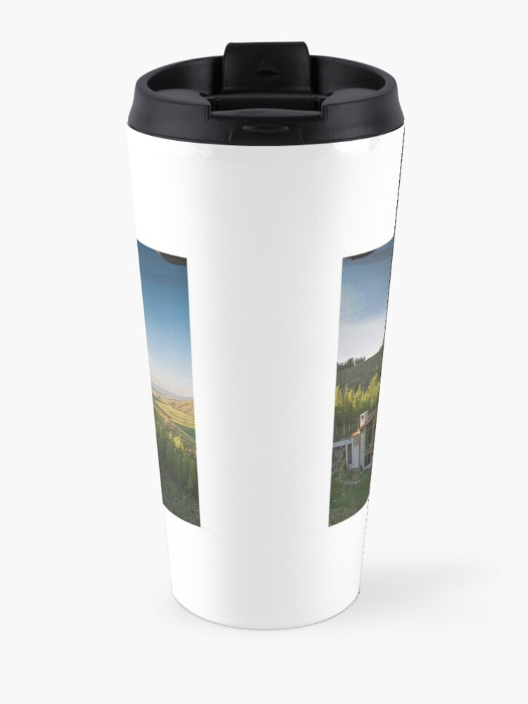 Alternate view of Drone Aerial of Beautiful Home Overlooking Jackson Hole Travel Mug