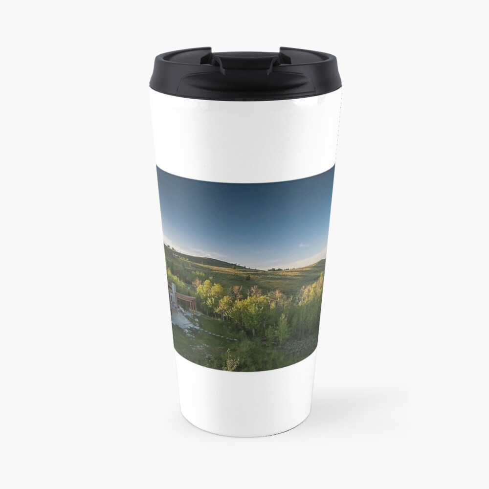 Drone Aerial of Beautiful Home Overlooking Jackson Hole Travel Mug