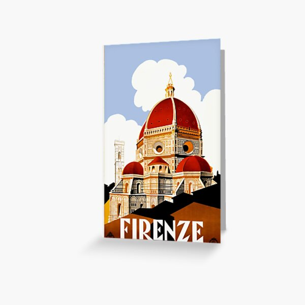1930 Florence Italy Travel Poster Greeting Card