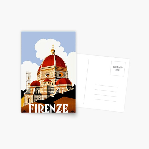 1930 Florence Italy Travel Poster Postcard