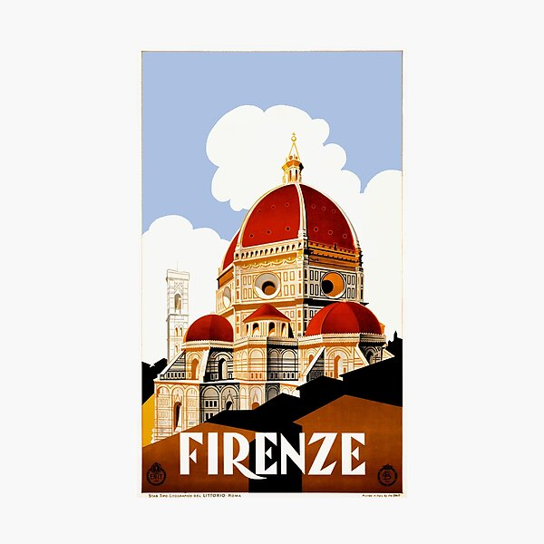 1930 Florence Italy Travel Poster Photographic Print