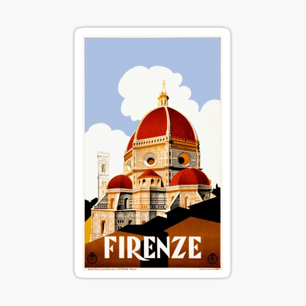 1930 Florence Italy Travel Poster Sticker
