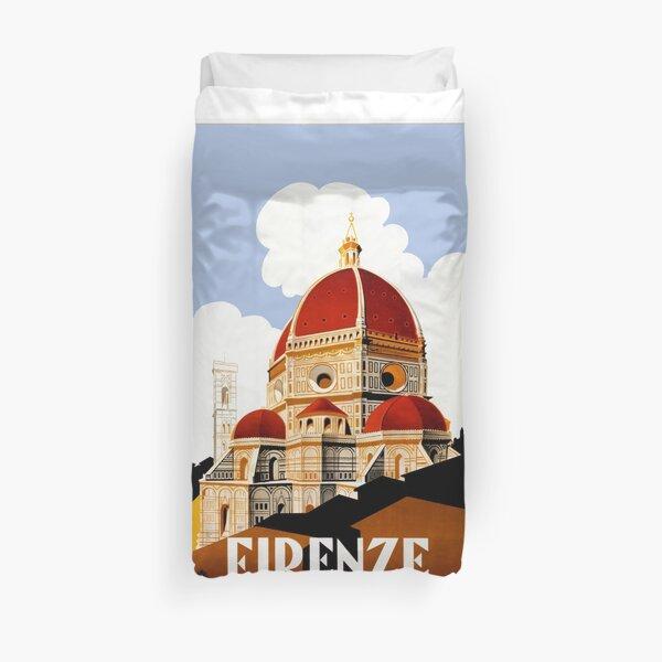 1930 Florence Italie Affiche de voyage Housse de couette