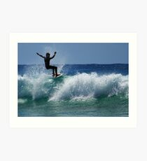 Surfing at Dalmeny Art Print