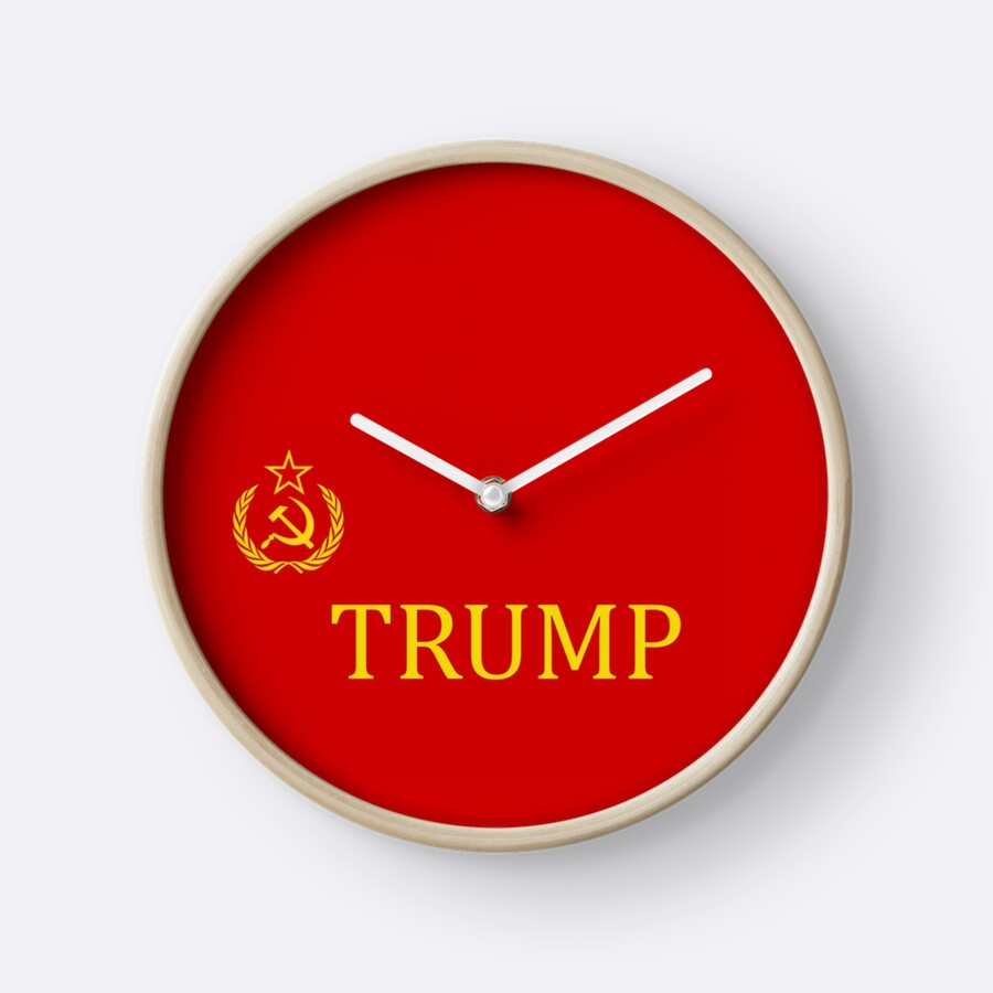 Hammer and sickle russian trump flag clocks by miahl redbubble hammer and sickle russian trump flag by miahl amipublicfo Images