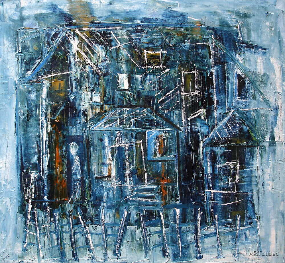"""ART by bec """"Raining at the House"""" by ARTbybec"""