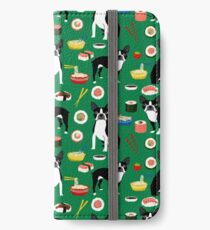 Boston Terrier sushi funny dog art pattern gifts for dog lover pet portrait by PetFriendly iPhone Wallet/Case/Skin