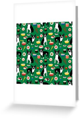 Boston Terrier sushi funny dog art pattern gifts for dog lover pet portrait by PetFriendly by PetFriendly