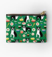 Boston Terrier sushi funny dog art pattern gifts for dog lover pet portrait by PetFriendly Studio Pouch
