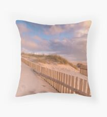 Dune Fence on Beach Throw Pillow