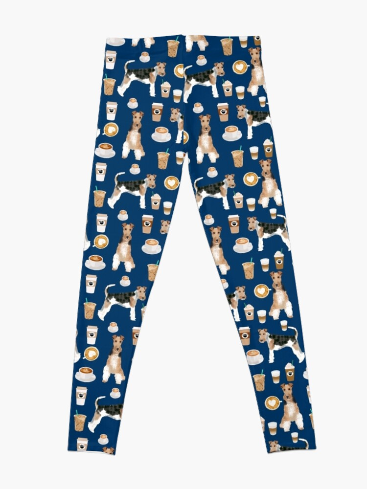Alternate view of Wire Fox Terrier coffee dog pattern dog lover gifts for dog person dog breeds pet friendly by PetFriendly Leggings