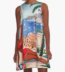 1955 France Visit La Cote D'Azur Travel Poster A-Line Dress