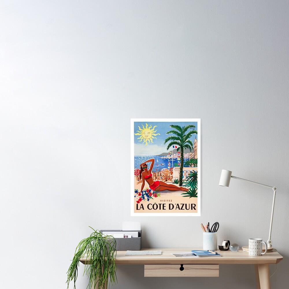 1955 France Visit La Cote D'Azur Travel Poster Poster