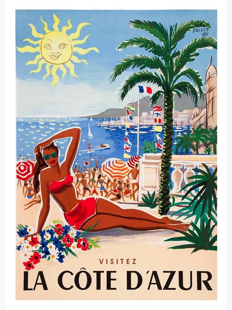 1955 France Visit La Cote D'Azur Travel Poster by retrographics