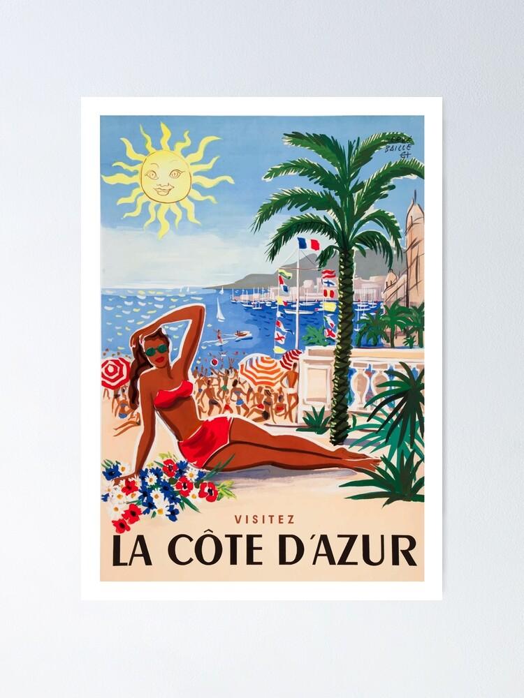 Alternate view of 1955 France Visit La Cote D'Azur Travel Poster Poster