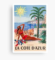 1955 France Visit La Cote D'Azur Travel Poster Metal Print