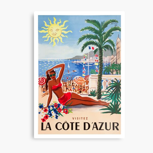 1955 France Visit La Cote D'Azur Travel Poster Metal Print