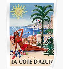 1955 Frankreich Besuchen Sie das Reiseplakat von La Cote D'Azur Poster