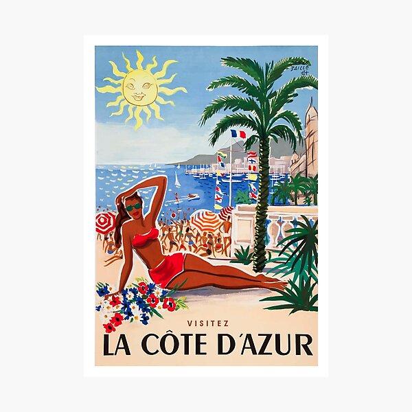 1955 France Visit La Cote D'Azur Travel Poster Photographic Print