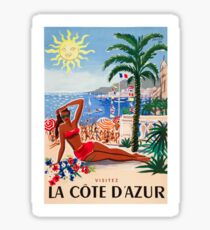 1955 France Visit La Cote D'Azur Travel Poster Sticker