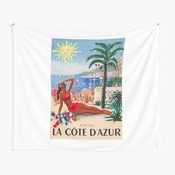 1955 France Visit La Cote D'Azur Travel Poster Tapestry