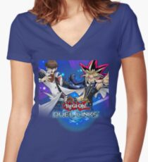 Yu-Gi-Oh! Duel Links Women's Fitted V-Neck T-Shirt