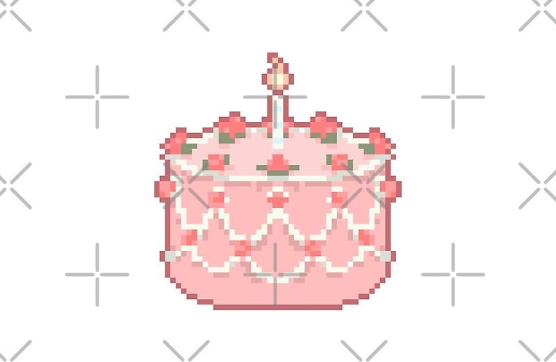 Pink Pixel Art Birthday Cake Laptop Skins by Kat Sup Redbubble