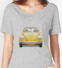 Volkswagen Type 1 - Yellow Volkswagen Beetle on Blue Canvas Women's Relaxed Fit T-Shirt