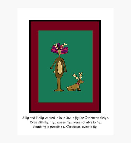 Silly and Molly Help Christmas Photographic Print