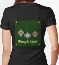 Merry and Bright felt, knit stitched Christmas ornaments Womens Fitted T-Shirt