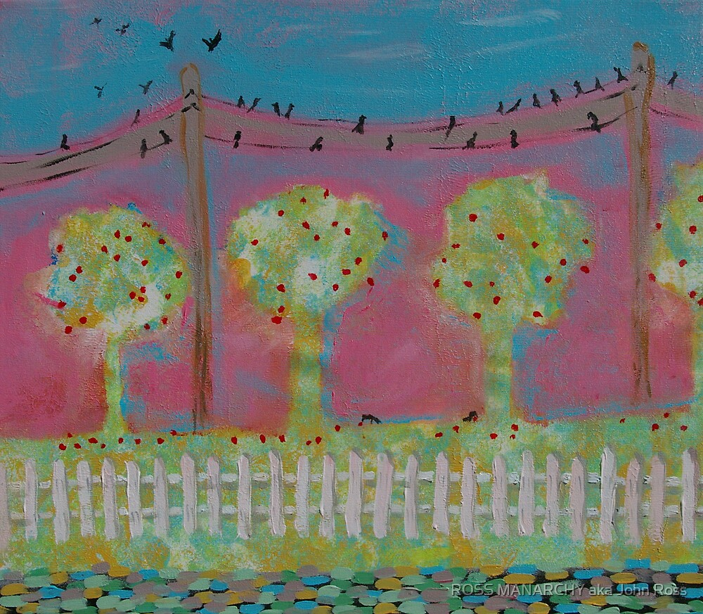 BIRDS ON A WIRE (sold) by ROSS MANARCHY aka John Ross