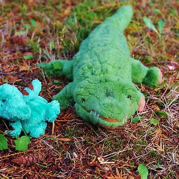 Gator McBumpypants and Herman the baby Pterodactyl by marialberg