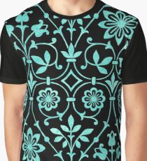 Vintage Floral Turquoise Blue Green Flowers Pattern Graphic T-Shirt