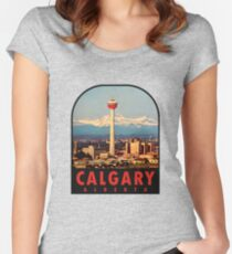 Calgary Alberta Canada Vintage Travel Decal Women's Fitted Scoop T-Shirt