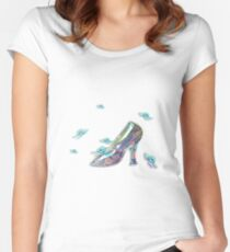 Crystal Shoe With butterfly Women's Fitted Scoop T-Shirt